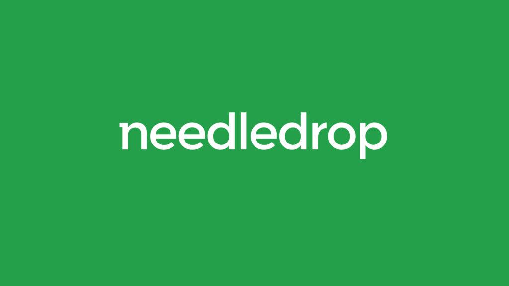 Needledrop logo design on green background