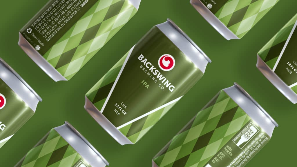 Backswing Brewing IPA can design on green background