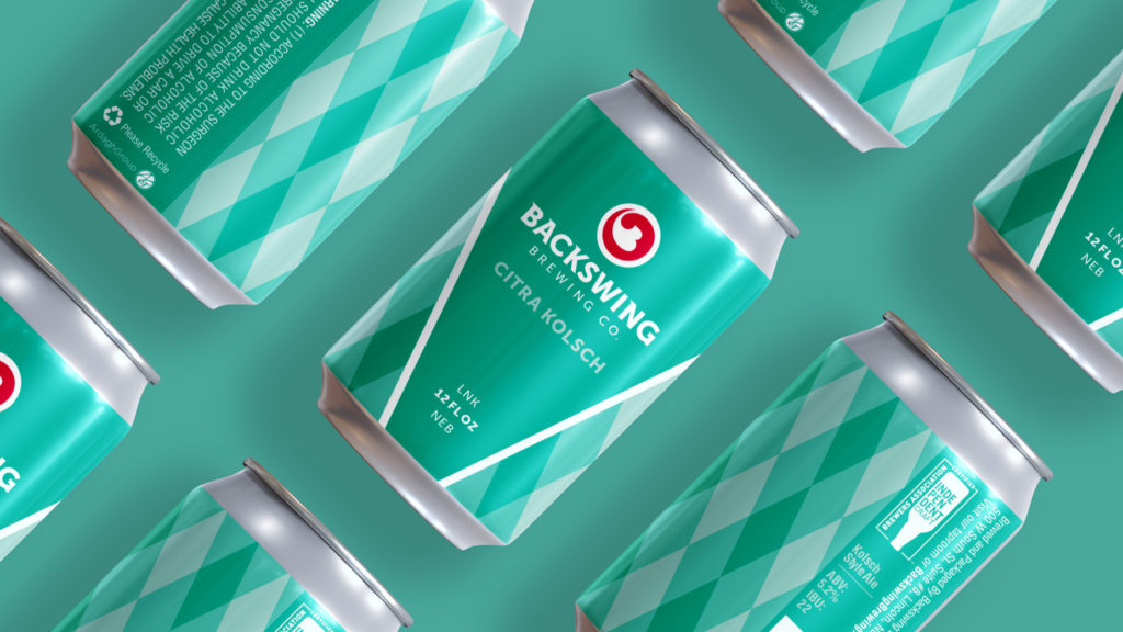 Backswing Brewing Citra Kolsch cans on blue background