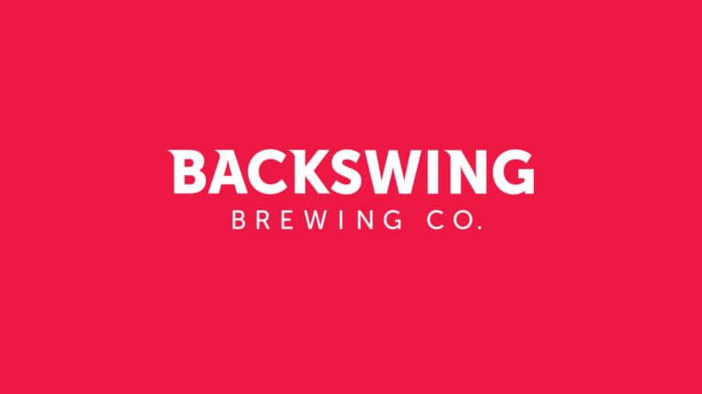 Backswing Brewing logo on red background