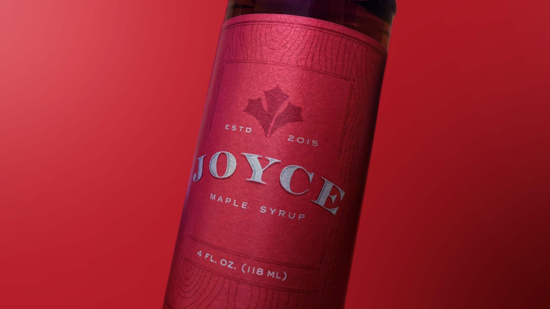 joyce maple syrup package design closeup