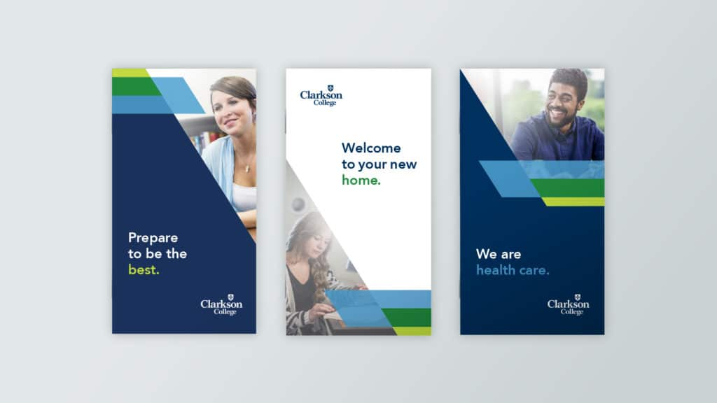 Image of Clarkson College brochure design system.