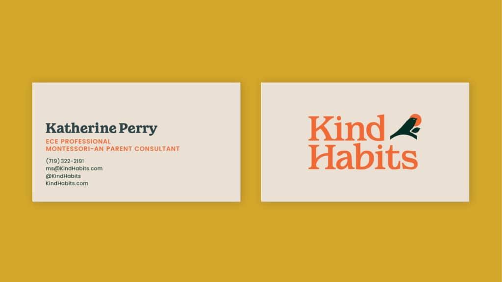 Image of Kind Habits' business card.