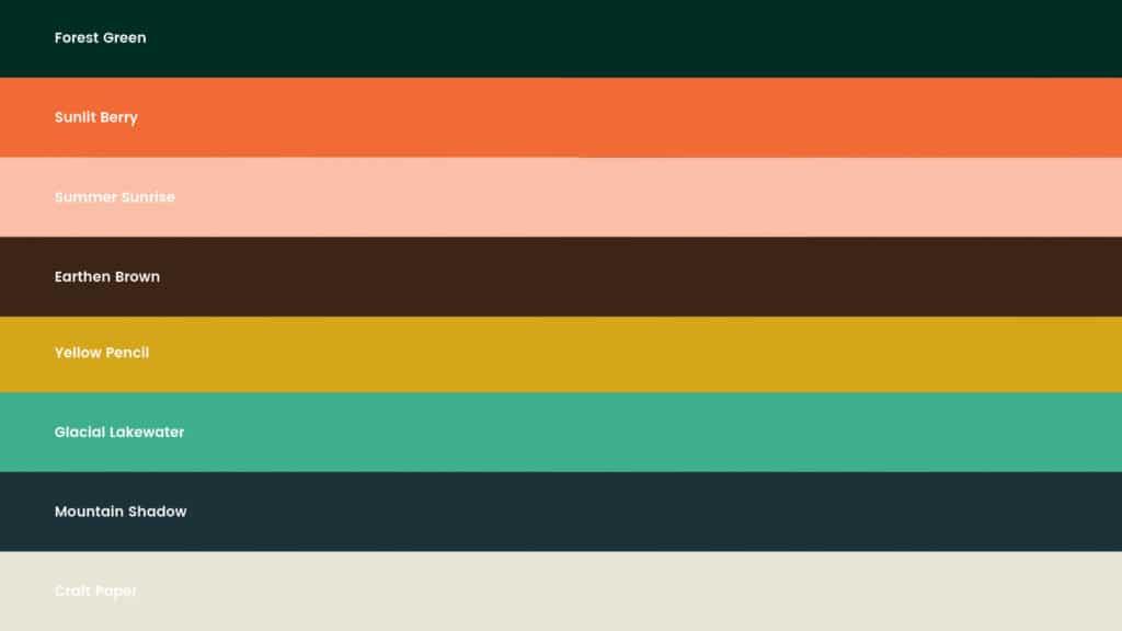 Graphic showing Kind Habits' color palette.