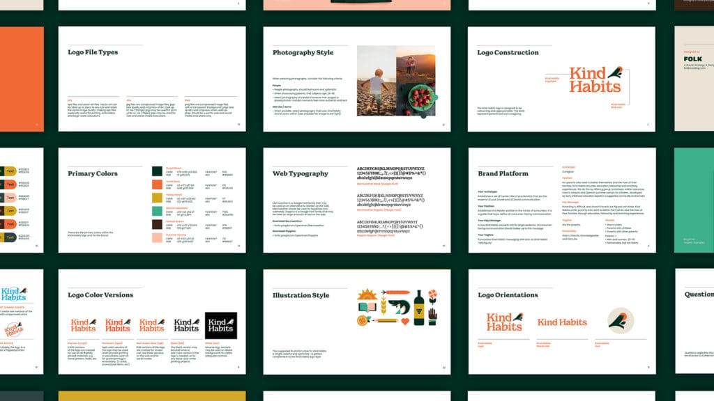 Image showing pages from the Kind Habits brand guidelines.