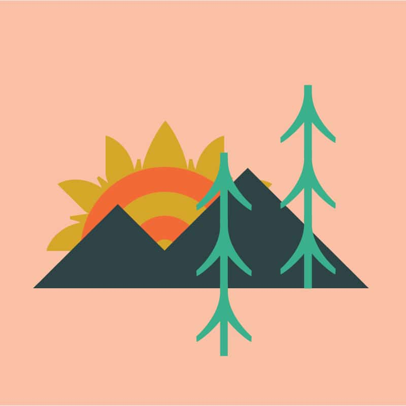 An illustration of a mountain, trees and sun.