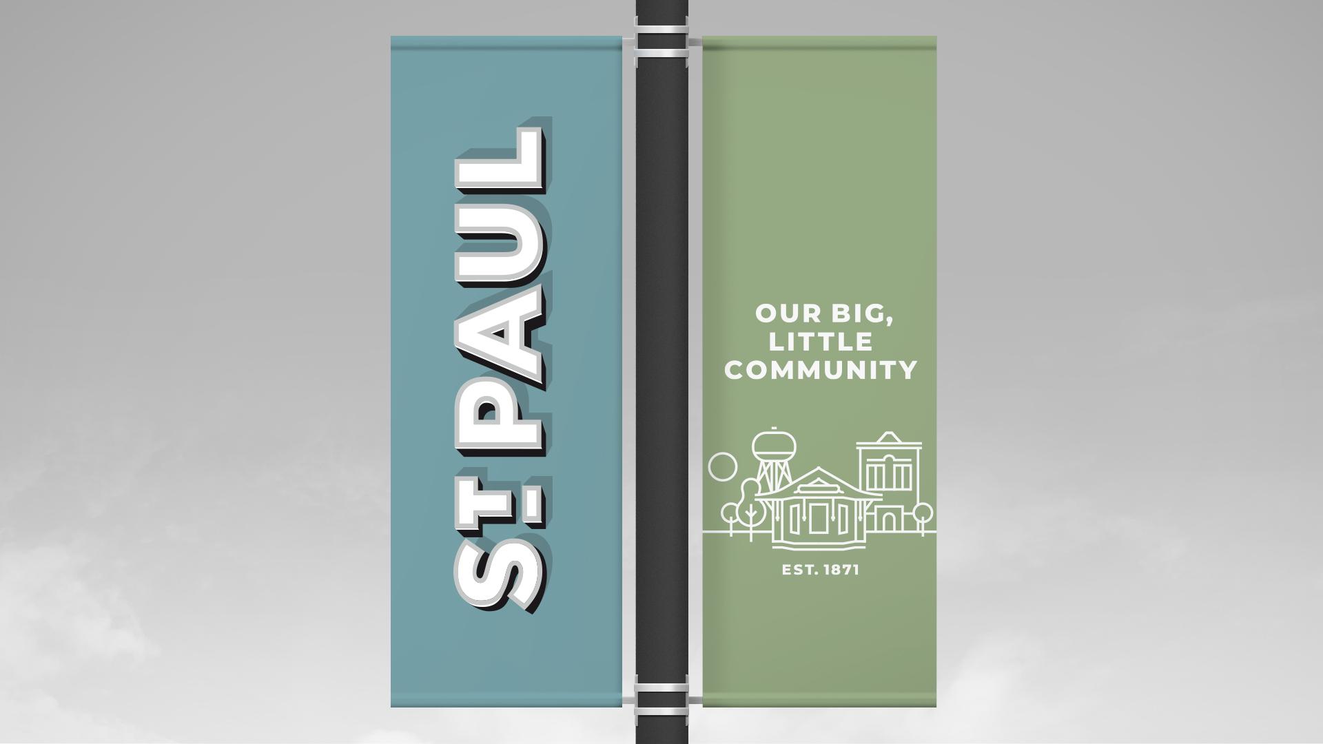 St. Paul, Nebraska pole banners.
