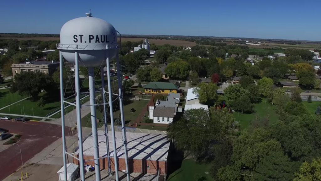 Image of St. Paul, Nebraska water tower.