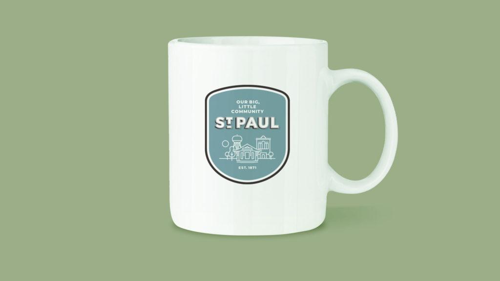 Image of St. Paul, Nebraska branded coffee mug.