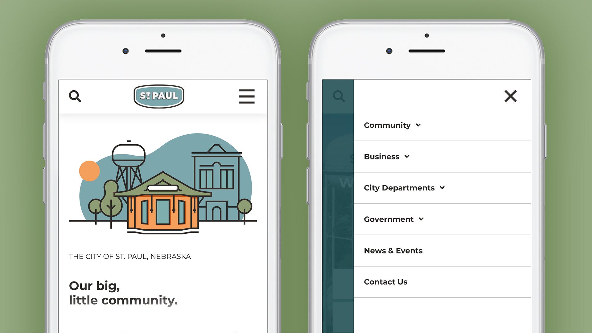 Image of St. Paul, Nebraska mobile website design.